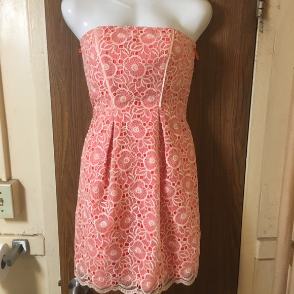 Jessica Simpson Dresses & Skirts - Floral Lace Orange/peach and white dress